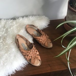 """""""Connie"""" Tan Woven Genuine Leather Flat Sandals"""